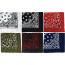 "6 Color Pack Trainmen Cotton Paisley Biker Sport Bandanas (27"" x 27"")"