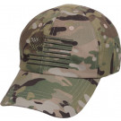 Multi Cam Military Low Profile Adjustable Tactical Operator Cap w/ US Flag