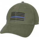 Olive Drab Thin Blue Line American Flag Support The Police Low Profile Cap