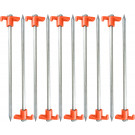 "10 PACK - Galvanized Steel Tent Peg Stake Nail with T-Top - Heavy-Duty 8mm Diameter Large 10""  191818000686"