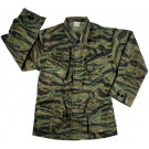 Tiger Stripe Camouflage 100% Cotton Rip-Stop Vintage Vietnam Military BDU Fatigue Shirt