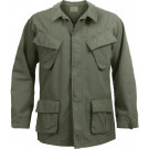 Olive Drab 100% Cotton Rip-Stop Vintage Vietnam Military BDU Fatigue Shirt
