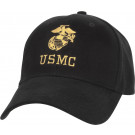 Black USMC Globe & Anchor US Marines Low Profile Adjustable Cap