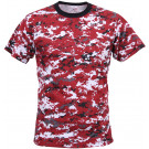 Red Digital Camouflage Military Short Sleeve T-Shirt