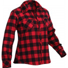 Women's Red Plaid Tapered Cut Button Down Flannel Shirt