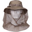 Khaki Military Wide Brim Boonie Hat With Mosquito Netting