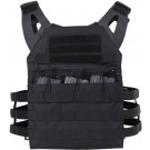Black Lightweight MOLLE Compatible 3 Magazine Pouch Plate Carrier Vest