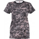 Subdued Urban Digital Camouflage Women's Long Slim Tactical T-Shirt