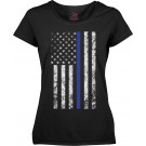 Womens Black Thin Blue Line Support Police Distressed US Flag T-Shirt