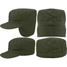 Olive Drab Military Patrol Fatigue Cap w/ Ear Flaps