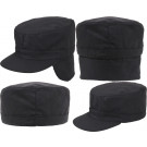 Black Military Patrol Fatigue Cap w/ Ear Flaps