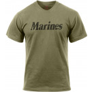 Olive Drab Distressed Marines Logo T-Shirt