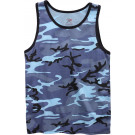 Sky Blue Camouflage Military Tank Top