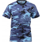 Sky Blue Camouflage Military Short Sleeve T-Shirt