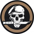 Skull Beret & Knife PVC Military Morale Circle Patch 2.75""
