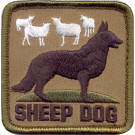 Brown Military Sheep Dog Patch With Hook Back