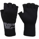 Black Tactical Fingerless Glove Liner Inserts Wool Gloves USA Made