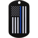 Black Police Thin Blue Line Subdued American Flag Military Dog Tag