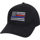 Black Thin Blue & Red Line US Flag Police & Firefighters Baseball Cap