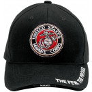 Black Military USMC Globe & Anchor Deluxe Low Profile Adjustable Cap