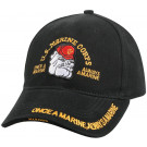 Black US Marine Corps Bulldog Deluxe Low Profile Adjustable Cap