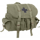 Olive Drab Vintage Military Medic Canvas Front Strap Backpack
