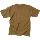 Brown Moisture Wicking Plain Solid Military T-Shirt