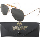Smokey UV Acrylic Lenses With Gold Frame Air Force Style Aviator Glasses With Case