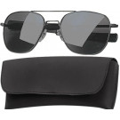 Black Military 52mm Pilots Aviator Sunglasses (Smoke Lenses)