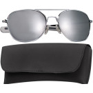 Chrome Military 52mm Pilots Aviator Sunglasses (Mirror Lenses)