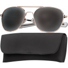 Gold Military 52mm Pilots Aviator Sunglasses (Smoke Lenses)