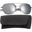 Chrome Military 58mm Pilots Aviator Sunglasses (Mirror Lenses)