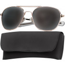 Gold Military 58mm Pilots Aviator Sunglasses (Smoke Lenses)