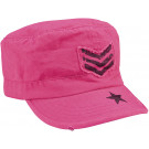 Women's Pink Military Adjustable Patrol Fatigue Cap w/ Pink Stripes