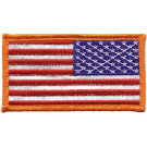 "Red White Blue Reverse American US Flag Hook Patch 1 7/8"" x 3 3/8"""