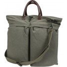 Olive Drab Vintage Military Canvas Helmet Shoulder Bag With Leather Handles