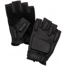Black Tactical Suede Fingerless Rappelling Gloves