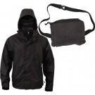 Black Tactical Waterproof Packable Outerwear Rain Jacket