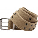 Khaki Vintage Military Pistol Belt With Double Prong Buckle