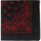 "Black & Red Trainmen Cotton Paisley Sport 27"" x 27"" Bandana Biker Headwrap"
