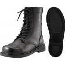"Black Leather Military Combat Boots (9"")"