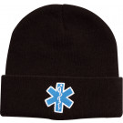 Black Embroidered EMS EMT Emergency Star of Life Knit Acrylic Watch Cap