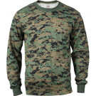 Woodland Digital Camouflage Tactical Long Sleeve Military T-Shirt