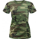 Woodland Camouflage Women's LWomen's Woodland Camouflage Longer Slim T-Shirtong Slim Tactical T-Shirt