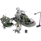 Camouflage Military Force Play Spotlight Trailer Boat & Soldier Toy Set
