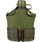 Olive Drab 1 Quart Plastic Canteen with Cover & Pistol Belt