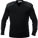 Black Military Commando Acrylic V-Neck Sweater