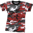 Red Camouflage Kids Military Tactical T-Shirt