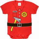 Red Infant Firefighter Uniform One Piece Bodysuit
