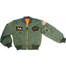 Kids Sage Green Military US Air Force Style Top Gun MA-1 Flight Jacket